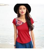 ガーベラ 非対称性 Vネック 刺繍 プルオーバー ニット 半袖 Tシャツ rp9100-1