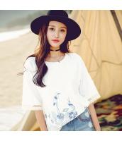 ガーベラ 丸首 刺繍 半袖 裾スリット ストレート ニット Tシャツ rp9116-1