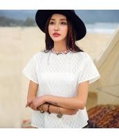 ガーベラ スタントカラー 刺繍 ドロップショルダー シャツ カジュアル 半袖 シャツ rp9123-1