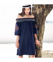 ガーベラ ゴム入りの襟 刺繍 ラッパ袖 スカート ストレート スリット ワンピース rp9126-1