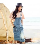 ガーベラ 刺繍 ストレート サスペンダースカート シングルボタン ブリーチ デニム ワンピース rp9147-1