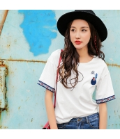 ガーベラ 丸首 刺繍 半袖 プルオーバー ストレート コーデアイテム ニット Tシャツ rp9170-1