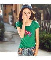 ガーベラ 丸首 貼布刺繍 細身 ニット 半袖 Tシャツ rp9173-1