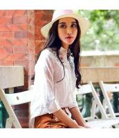 ガーベラ スタントカラー 刺繍 半袖 シャツ シングルボタン ストレート シャツ rp9182-1