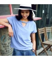 ガーベラ 丸首 刺繍 半袖 プルオーバー ホロー ニット Tシャツ rp9192-1