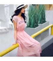 ガーベラ Vネック 刺繍 ゴム入りのウエスト 半袖 スカート レース 切替 ワンピース rp9222-1