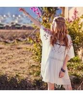 ガーベラ 刺繍 七分袖 薄手 カーディガン フリンジ裾 シフォン ブラウス rp9229-1