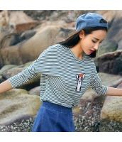 ガーベラレディース Tシャツ・カットソー 長袖 丸首 刺繍 ボーダー rp9236-1