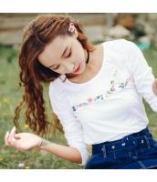 ガーベラレディース Tシャツ・カットソー 長袖 丸首 刺繍 コーデアイテム ストレート rp9242-1