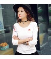 ガーベラレディース Tシャツ・カットソー 七分袖 丸首 刺繍 カジュアル rp9243-1