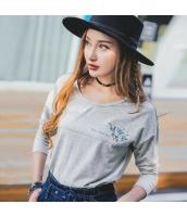 ガーベラレディース Tシャツ・カットソー 長袖 丸首 刺繍 カジュアル ゆったり rp9245-1