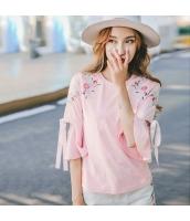 ガーベラレディース Tシャツ・カットソー 丸首 刺繍 コーデアイテム rp9247-1