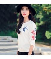 ガーベラレディース Tシャツ・カットソー 長袖 丸首 刺繍 カジュアル ゆったり rp9254-1