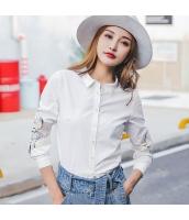 ガーベラレディース シャツ 長袖 刺繍 ストレート 純綿 rp9261-1