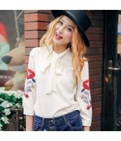ガーベラレディース シャツ 七分袖 リボン スタンドカラー 刺繍 シフォン rp9264-2