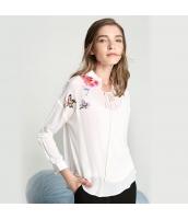 ガーベラレディース シャツ 長袖 ハイエンド スタンドカラー 刺繍 シルク rp9305-1
