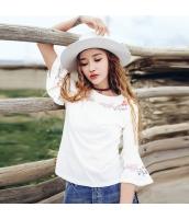 ガーベラレディース Tシャツ・カットソー 丸首 刺繍 コーデアイテム rp9310-1
