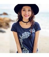 ガーベラレディース Tシャツ・カットソー 半袖 丸首 刺繍 純綿 rp9318-1