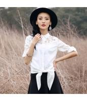 ガーベラレディース シャツ 長袖 刺繍 レース切替 純綿 rp9332-3