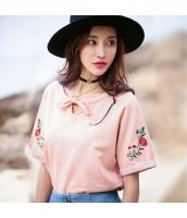 ガーベラレディース Tシャツ・カットソー 半袖 丸首 ホロー 刺繍 ゆったり rp9335-1