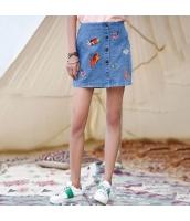 ガーベラレディース デニムスカート タイトスカート ミニスカート 刺繍 ストレート rp9336-1