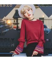 ガーベラレディース 丸首 エスニック 刺繍 ニットウェア セーター rp9420-1