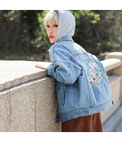 ガーベラレディース 刺繍 長袖 純綿 ゆったり ショート丈 デニムジャケット rp9450-1