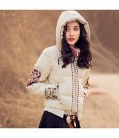 ガーベラレディース 刺繍 フード付き 長袖 ショート丈 ダウンジャケット rp9454-1