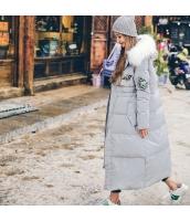 ガーベラレディース ファー襟 フード付き 刺繍 ダウンコート ロング丈 rp9467-1