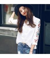 ガーベラレディース スタンドカラー ゆったり 刺繍 ホワイト シフォン シャツ 七分袖 rp9546-1