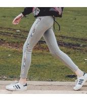 ガーベラレディース ゴムウエスト 刺繍 着やせ カジュアル レギンス rp9553-1