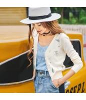 ガーベラレディース Vネック 刺繍 ショート丈 薄手 カーディガン ニット・セーター 長袖 rp9600-2