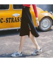 ガーベラレディース 着やせ Aライン スリット入り 刺繍 フレアスカート 膝丈 rp9775-1