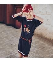 ガーベラレディース 丸首 刺繍 カジュアル ストレート ゆったり ニット ミニワンピース 長袖 Aラインワンピース rp9805-1