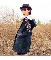 ガーベラレディース 花柄 刺繍 取り外し可フード デニムラム切替 コート ミディアム丈 rp9823-1