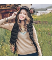 ガーベラレディース フード付き エスニック 刺繍 ショート丈 軽やか ダウンベスト rp9830-1
