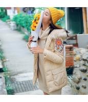ガーベラレディース 抽象柄 刺繍 大きいファー襟 ダウンコート ミディアム丈 rp9866-1