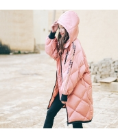 ガーベラレディース フード付き 刺繍 長袖 ゆったり 着やせ ダウンコート ミディアム丈 rp9895-1