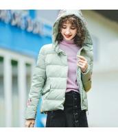 ガーベラレディース フード付き 刺繍 長袖 着やせ ショート丈 ダウンジャケット rp9896-1