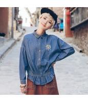 ガーベラレディース 刺繍 コーデアイテム デニム シャツ 長袖 rp9938-1