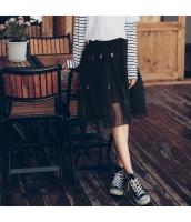 ガーベラレディース 刺繍 Aライン シフォン プリーツスカート フレアスカート 膝丈 rp9951-1