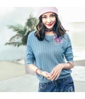 ガーベラレディース 丸首 刺繍 コーデアイテム ニットウェア セーター rp9972-1