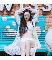 ホルターネックビキニ水着 お花モチーフ飾り 太ストラップ【ホワイト/白色】[M,L,XL]sdb16031-3