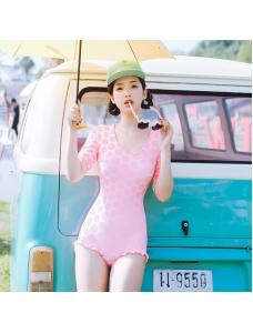 五分袖ワンピース水着 水玉柄 フリル裾 隠しワイヤー【ピンク/桃色】[M,L,XL]sdb16037-2