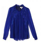 【即納】シャツ/ブラウス/長袖/レース刺繍入り/シルク素材使用/肌触りよいスタンドカラー-tk-os5571-bl-m-【カラー:ブルー】-【サイズ:M】