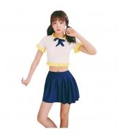 タンキニ風半袖水着 キュート裾フリル スカート一体型ビキニショーツ ネイビー/紺色 upp17325-1