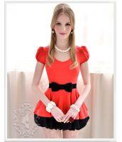 【即納】カットソ■Tシャツ■裾フレア■リボン飾り-w2456 tk-w2456-red-l【カラー:Red】【サイズ:L】