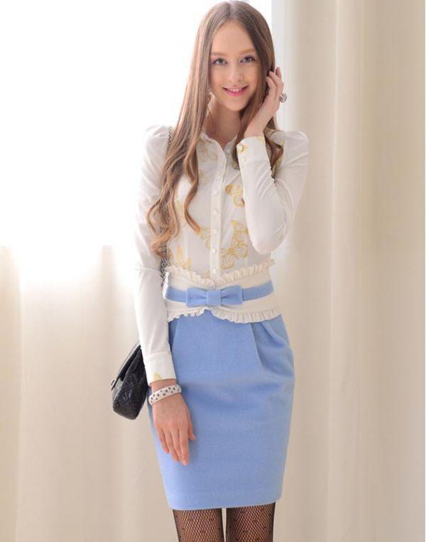 【即納】ひざ丈スカート■タイト■ウールチューリップ型-w3310 tk-w3310-bl-m【カラー:ブルー】【サイズ:M】