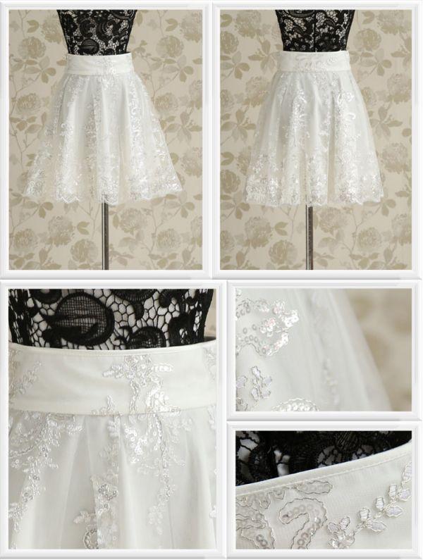【即納】ひざ丈スカート スパンコール飾り裾フレア 裏地付き 無地 tk-w4244-wh-l【カラー:ホワイト】【サイズ:L】