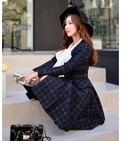 【即納】ベルト付きチェック柄Vネック裾フレアAライン膝丈長袖コート tk-w6004-xs-gz【カラー:ネイビー】【サイズ:XS】